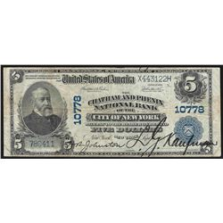 1902 $5 Chatham and Phenix National Bank New York Currency Note
