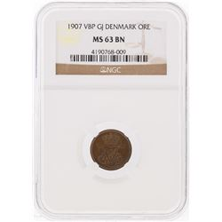 1907 VBP GJ Denmark ORE Coin NGC Graded MS63 BN