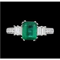 14KT White Gold 1.70ct Emerald and Diamond Ring