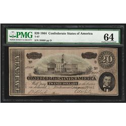 1864 $20 The Confederate States of America Note T-67 PMG Choice Uncirculated 64
