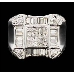 18K White Gold  Men's 3.80ctw Princess & Baguette Diamond Ring