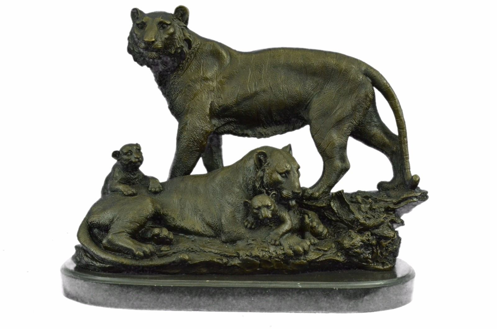 lion cougar tiger family bronze sculpture on marble base statue