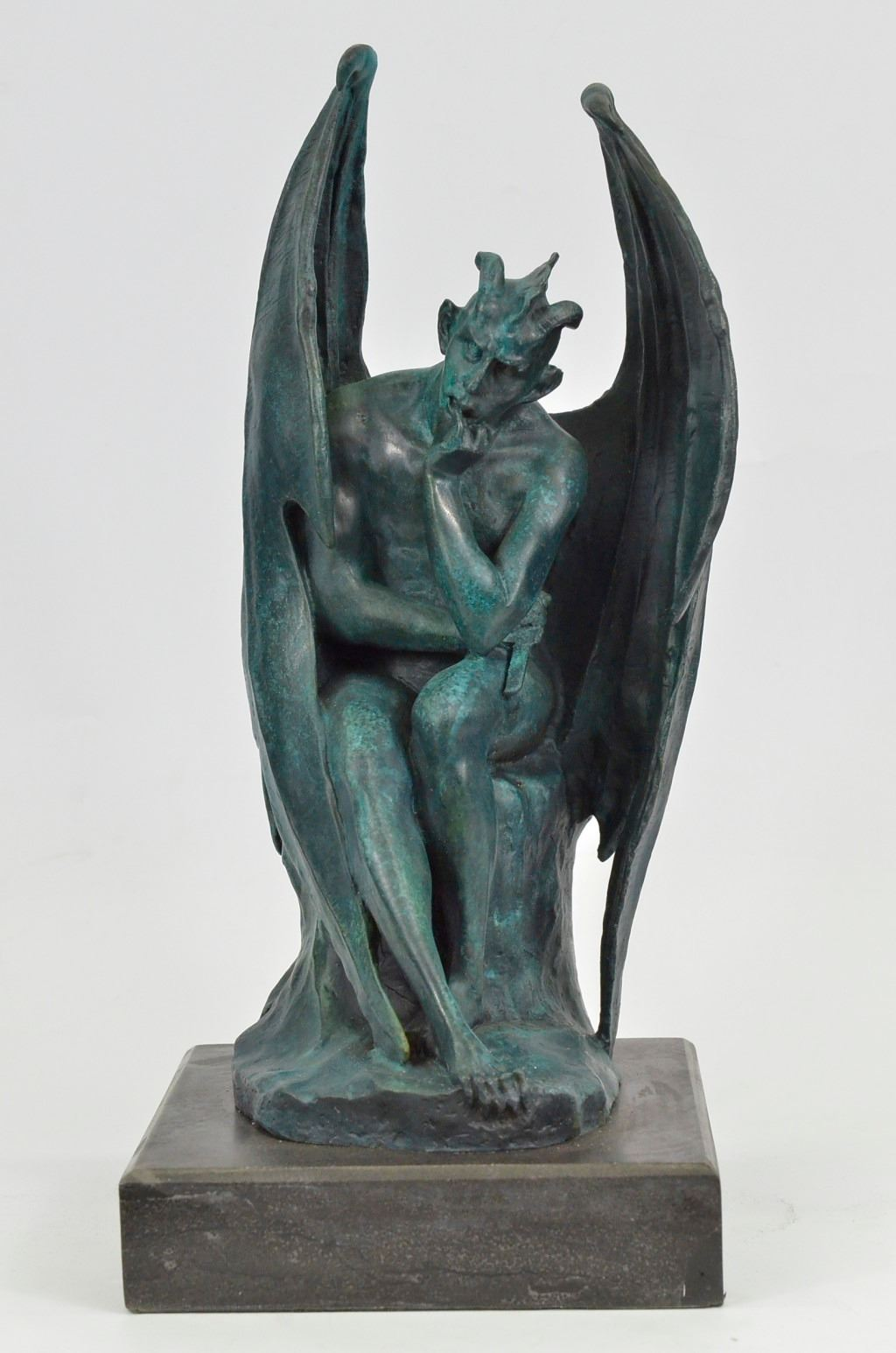green patina devil satyr diablo dark angel bronze sculpture by milo on marble base. Black Bedroom Furniture Sets. Home Design Ideas