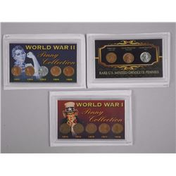 3x USA World War Pennies WWI and WWII and Obsolete