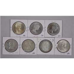 7x Canada Silver Dollars. Mix of Years (5) MS60, (