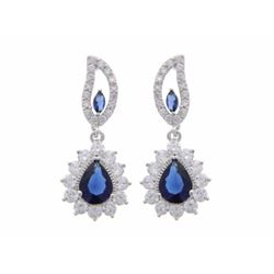 Ladies 925 Silver Earrings. 2 Prong, Blue Marquise