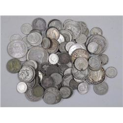 100x World Silver Coins - 278 grams. Approx Mixed