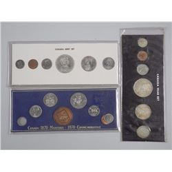 3x Canada 1965, 1967, 1970 Mint Coin Sets with Sil