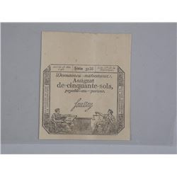 Paper Money of the french Revolution Assignat Note