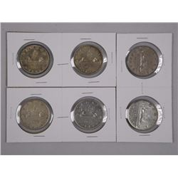 6x Canada Silver Dollars 1951, 1953, 1957 with and