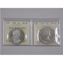 2x Canada Silver Dollar 1953 - MS63 and 1966 MS64