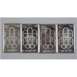 4x .9999 Fine Silver Bars/Olympic Stamps (ATTN: 4