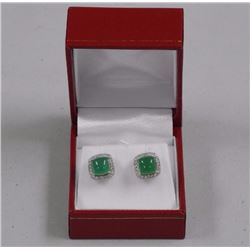 Ladies 925 Sterling Silver Cabochon Jade Stone Squ