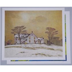 2x A.J.Casson (1898-1992) Lithos - Old House on Ba