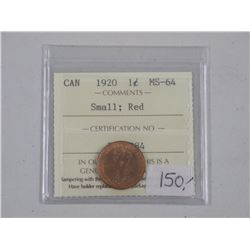 Canada 1920 (MS64) Small Red One Cent. ICCS. (SER)