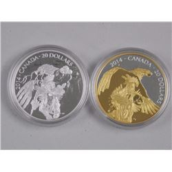 2x RCM Issues: 2014 $20 Fine Silver Coins.