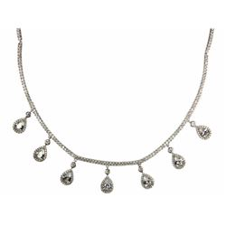 Ladies 925 Silver Necklace. 7 Prong, Pear Swarovsk