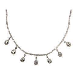 Ladies 925 Fancy Necklace. 7 Prong set, Pear Swaro