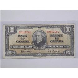 Bank of Canada 1937 One Hundred Dollar Note G/T