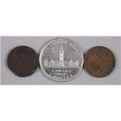 Lot of (3) Royal Visit Coins and Medallion, 1939 S