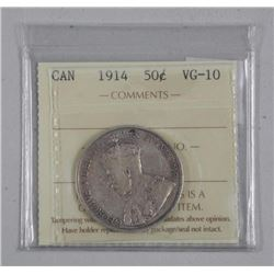 1914 Canada Silver 50 Cent. ICCS VG-10