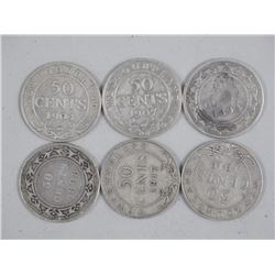 6x NFLD Silver 50 Cents - 1894, 1898, 1904, 1907,
