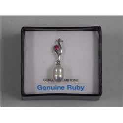 Ladies White Gold Ruby Pearl Pendant. Pendant = 0.