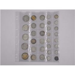 33x Canada Silver Coins. Mix of Monarchs - 10 Cent