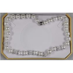 "Single Pearl Strand Necklace 18"" Princess Length"