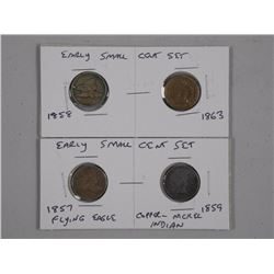 2x Sets Early USA Small Cent (1857 Flying Eagle an
