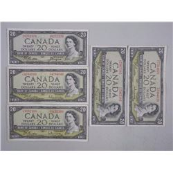5x Bank of Canada 1954 Twenty Dollar Notes, Modifi