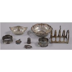 Lot of Estate Sterling Silver, Napkin Ring, Dishes