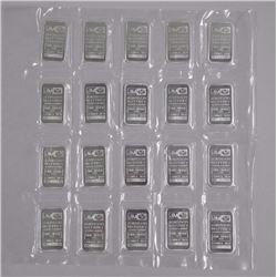20x JM 999 Fine Silver Bars, Sequential Numbers. N