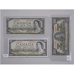 3x Bank of Canada 1954, 1937 Twenty Dollar Modifie