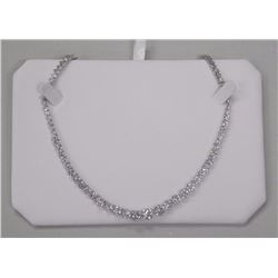Ladies 925 Silver Necklace. 11 Prong, Oval Swarovs