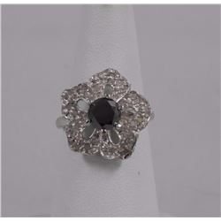 Estate Ladies 925 Silver Ring. 61 Diamonds = 1.25c