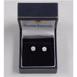 Ladies 14kt White Gold Stud Earrings. 2 Prong Set,