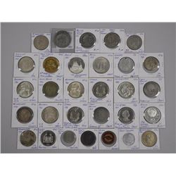 30pc Coin Collection. World Silver, Medals, Tokens