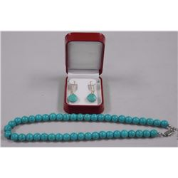 """Turquoise Bead Necklace and Earring Set 16"""" 8-9mm"""