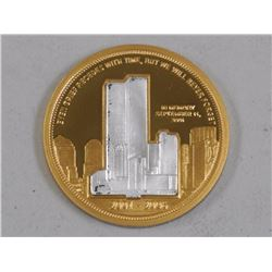.999 Fine Silver with 24kt Gold Overlay Medal