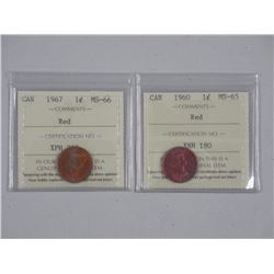 2x Canada 1 Cent - 1967-MS66 and 1960 (ATTN: 2 Tim