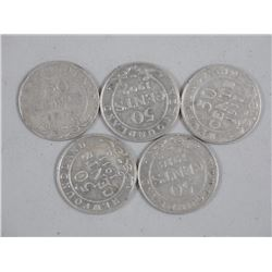 5x King George Silver 50 Cent NFLD 1904, 1909, 191