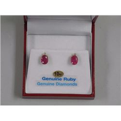 Ladies Yellow Gold Ruby and Diamond Stud Earrings.