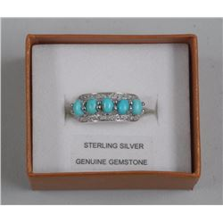 Ladies Sterling Silver Ring. 5 Oval, Turquoise Cab