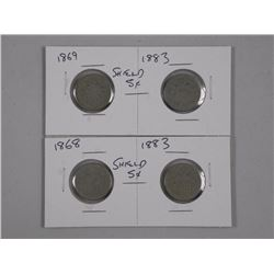 2x Pairs of USA Ten Cents (1893-1869)(1868-1883) (