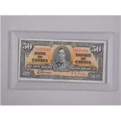 Bank of Canada 1937 Fifty Dollar Note. G/T