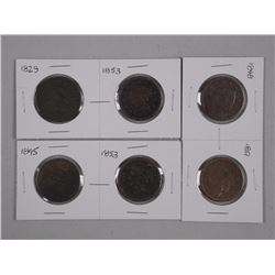 3x Pair USA 'One Cent' (1829-1853) (1848-1851), (1