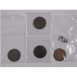 4x Canada Large 1 Cent Coin - (2) 1859 , 1910 and
