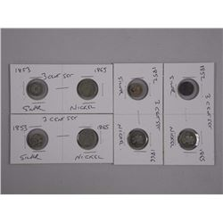 4x Pair USA 3 Cent Coin. Mid to Late 1800s (ATTN: