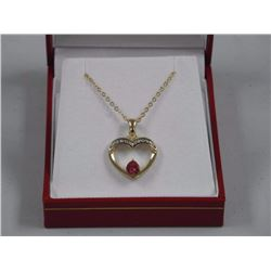 Ladies 925 Silver Heart Shape Pendant and Chain wi